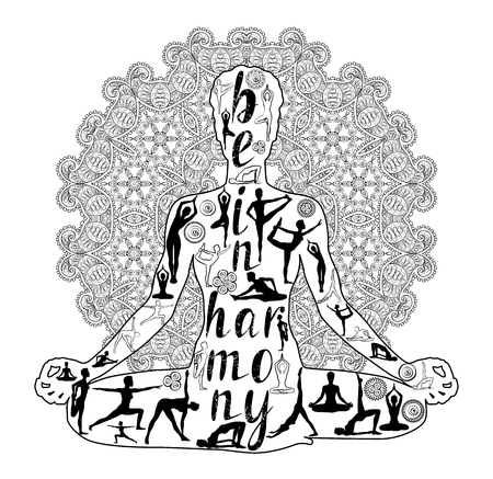 Yoga Black and white Silhouette, relaxation and meditation. Silhouette, vector illustration