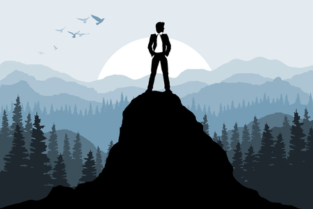 Businessman on the rock. Nature forest background. Vector illustration