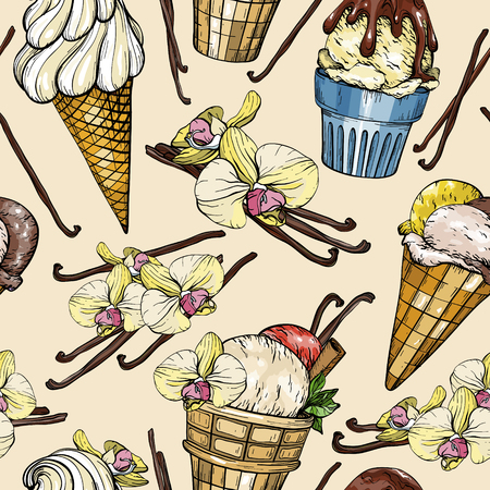 Seamless pattern with delicious ice cream and vanilla pods and flowers. Vector illustration