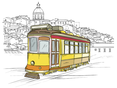 Sketch of traditional yellow portuguese tram and Lisbon cityscape at background. Vector illustration Ilustrace