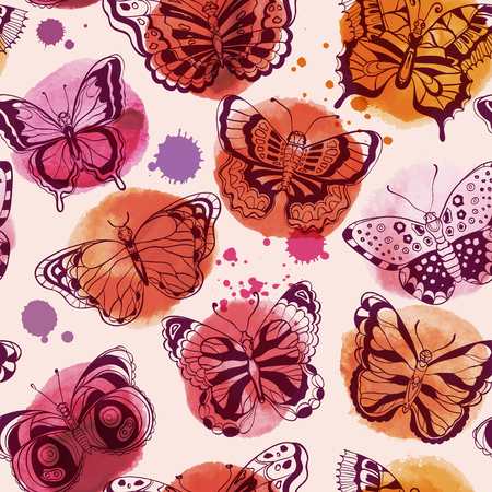 Beautiful Seamless pattern of watercolor spots and various butterflies. Vector illustration