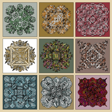 Set of Traditional portuguese decorative tiles azulejos. Abstract background. Ceramic tiles. Vector illustration