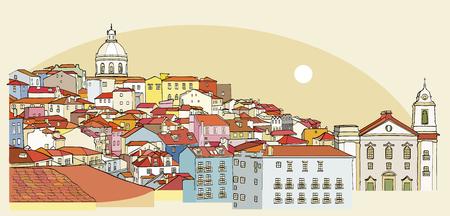 Lisbon cityscape view. Traditional Lisbon landmark. Vector illustration