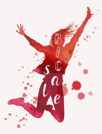 Big sale concept. Woman jumping raising her hands. Watercolor vector illustration Illusztráció