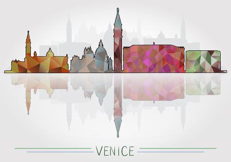 Sfondo della città di Venezia con la siluetta del paesaggio urbano Vettoriali