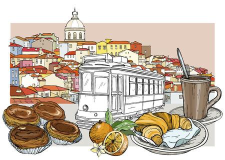 Lizbona panoramiczny pejzaż z tramwajem na tle i zestaw tradycyjnych kawiarni. Ilustracja wektorowa