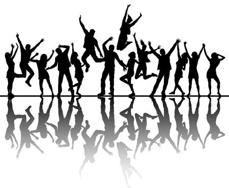 Dancing peoples silhouettes with reflection. Vector illustration