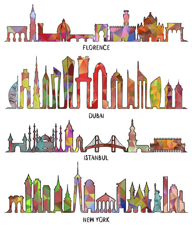 Skyline with Historic Architecture, line vector illustration. Florence, Dubai, triangular design. New York and Istanbul
