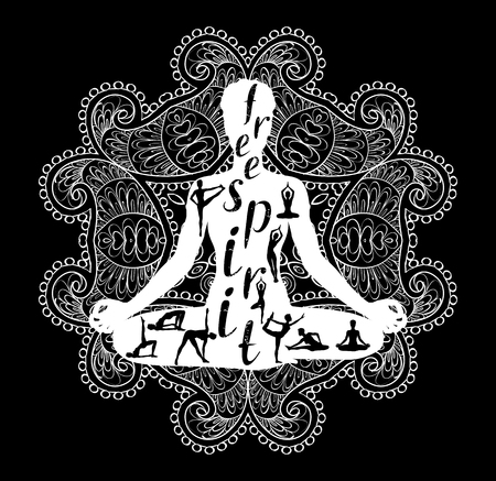 Yoga meditation Silhouette, Black and white, vector illustration