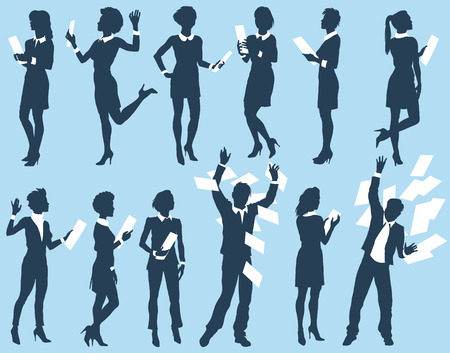 Business people man and woman silhouettes. Vector illustration