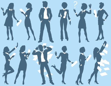 Business man and woman silhouettes. Vector illustration on blue background