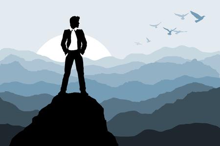 Uomo d'affari in piedi sulla roccia sullo sfondo della natura Silhouette Vector illustration