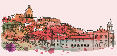 Lisbon cityscape skyline view. Watercolor vector illustration