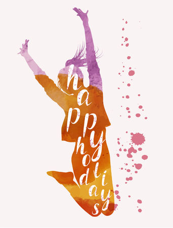 Vacation and travel concept. Jumping woman. Watercolor vector illustration