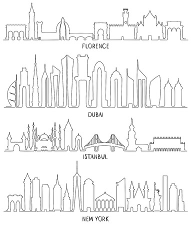 Skyline with Historic Architecture, line vector illustration. Florence, Dubai, New York and Istanbul Stock Illustratie