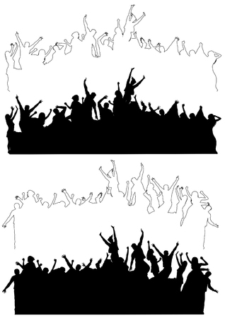 Silhouettes and outlines of dancing and celebrating people. Vector illustration Stock Illustratie