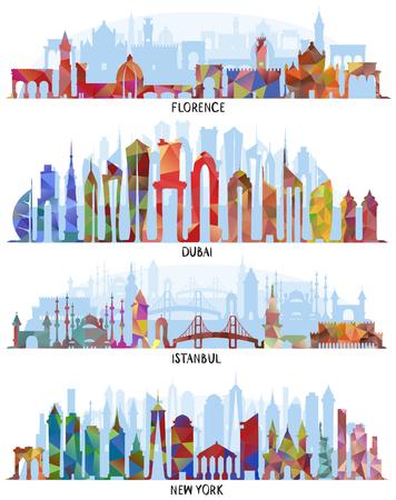 Horizonte con arquitectura histórica, fondos de vector de línea. Florencia, Dubai, diseño triangular. Nueva York y Estambul