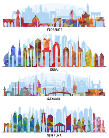 Skyline with Historic Architecture, line vector backgrounds. Florence, Dubai, triangular design. New York and Istanbul 向量圖像