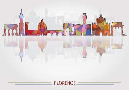 Florence City background with cityscape silhouette Vettoriali