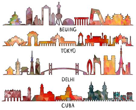 Vector illustration of Skyline silhouette set Beijing, Tokyo, New Delhi, Cuba, triangular design Vector Illustration