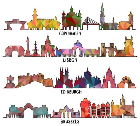 Skyline mit historischer Architektur, Stadtansichten von Kopenhagen, Lissabon, Edinburgh und Brüssel, dreieckiges Design