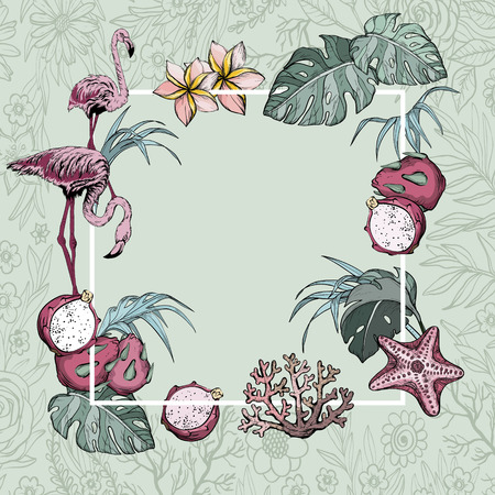 Tropical Flowers, Exotic fruits and Flamingo birds Summer Banner Background, Exotic Floral Invitation, Flyer or Card.