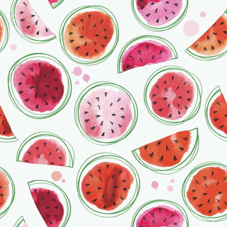Seamless watermelons pattern with watercolor watermelon slices. Illustration