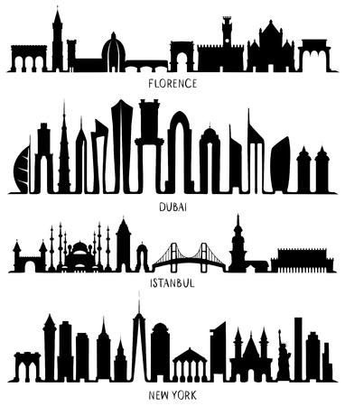 Florence, Dubai, New York and Istanbul silhouettes Ilustración de vector