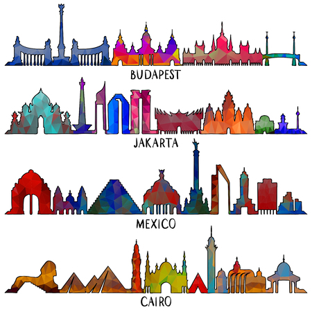Travel and tourism line vector illustration. Mexico, Budapest, Jakarta and Cairo Illustration