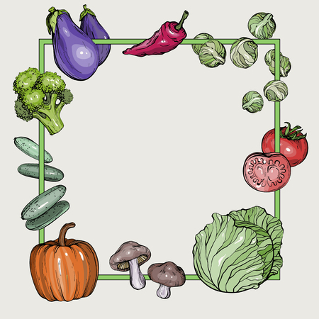 Background with hand-drawn vegetables, vector illustration in vintage style Illustration