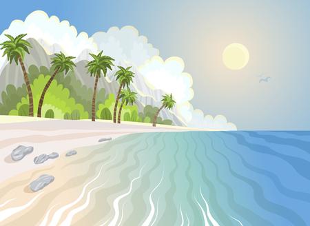 Plage paradisiaque d'été et palmiers au bord de la mer, illustration vectorielle tropicale.