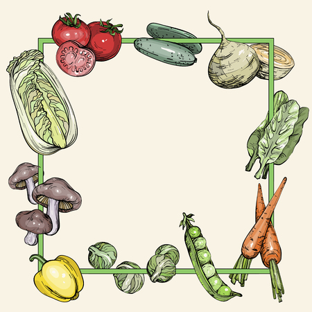 Background with vegetables, vector illustration in vintage style Ilustração