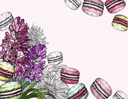 Background with macaroon dessert and spring hyacinth flowers. Vector illustration Stock Illustratie