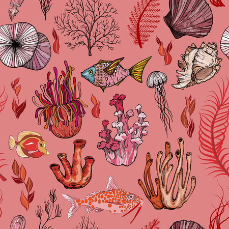 Seamless pattern with marine hand drawn corals. Silhouettes Illustration