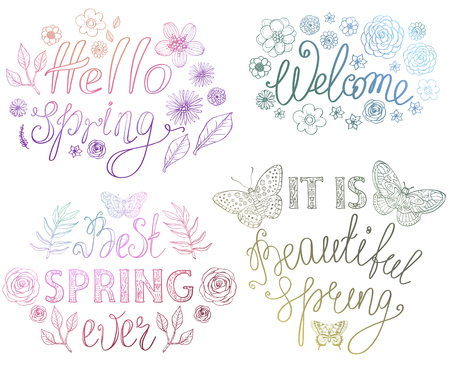 Spring hand drawn lettering design with floral decorative elements and butterflies, vector illustration