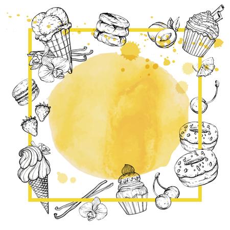 Cafe, bar banner, dessert watercolor background, hand drawn vector illustration