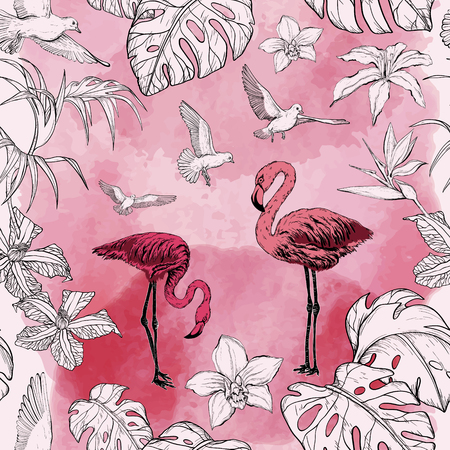 Seamless watercolor pattern with tropical flowers and flamingo birds. Vector illustration.