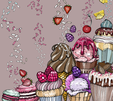 Sweet Dessert Background with Cakes and ice cream, baked dessert set, vector illustration Ilustrace