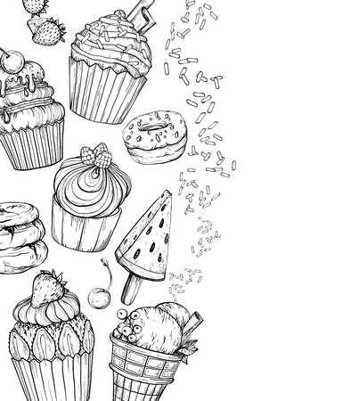 Sweet Dessert Background with Cakes and ice cream, baked dessert set, black and white, vector illustration