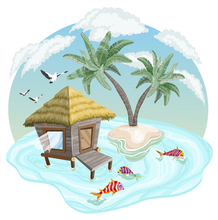 Tropical island in the ocean with palm trees and bungalow, vector illustration