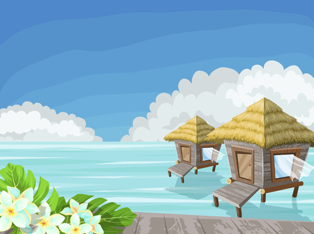 Tropical island in the ocean with exotic flowers and bungalow, vector illustration