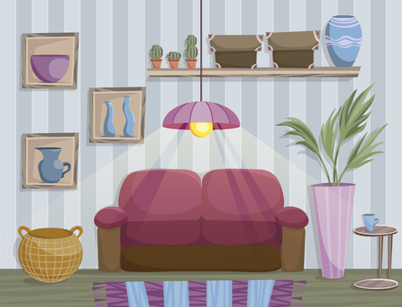 Flat style illustration of living room cozy interior. Vector illustration
