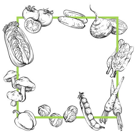 Background with vegetables, Black and white, vector illustration in vintage style Illustration
