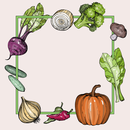 Background with hand drawn vegetables