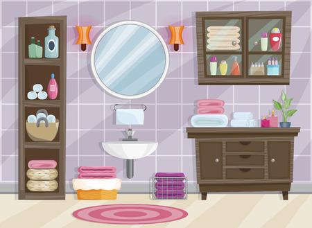 Intérieur de salle de bain moderne avec mobilier de style plat. Vecteurs