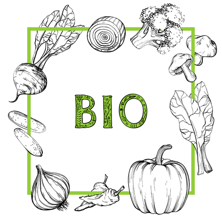 Background with hand drawn vegetables, Black and white, vector illustration in vintage style