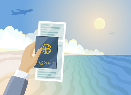 Air ticket and passport in hand, Summer paradise beach, vacation concept