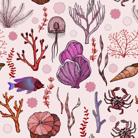 Seamless pattern with marine hand drawn corals and living organisms.