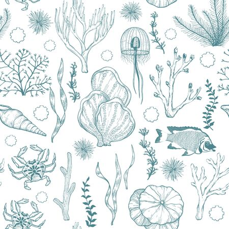 Seamless monochrome attern with marine hand drawn corals and living organisms.
