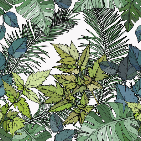 Vector Seamless pattern with green foliage, branches and leaves